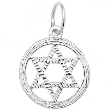 Sterling Silver Small Star Of David In A Circle Pendant On A Snake Necklace