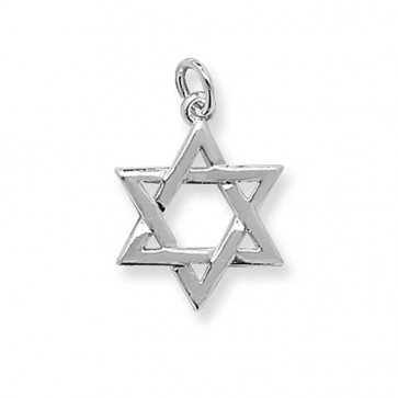 Men's Sterling Silver Small Star Of David Pendant On A Black Leather Cord Necklace