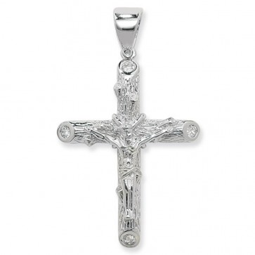 Sterling Silver Bling Crucifix Pendant On A Snake Necklace
