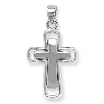 Sterling Silver Plain Double Cross Pendant On A Snake Necklace