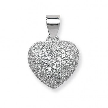Children's Sterling Silver Small Cubic Zirconia Heart Pendant On A Curb Necklace