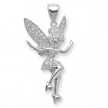 Children's Sterling Silver Tinkerbell Pendant On A Curb Necklace