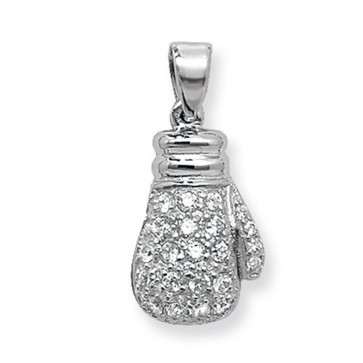 Children's Sterling Silver Cubic Zirconia Boxing Glove Pendant On A Curb Necklace