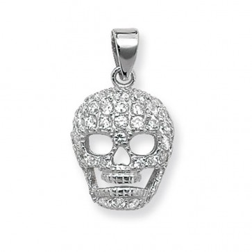 Men's Sterling Silver Cubic Zirconia Skull Pendant On A Black Leather Cord Necklace