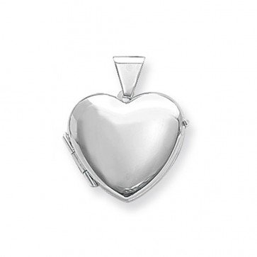 Sterling Silver Plain Heart Locket On A Snake Necklace