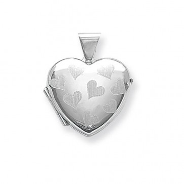 Children's Sterling Silver Heart Patterned Heart Locket On A Curb Necklace