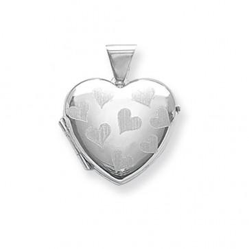 Sterling Silver Heart Patterned Heart Locket On A Snake Necklace