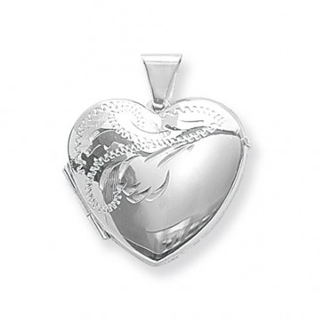 Men's Sterling Silver Large Half Engraved Heart Locket On A Black Leather Cord Necklace