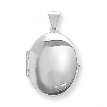 Men's Sterling Silver Plain Oval Locket On A Black Leather Cord Necklace