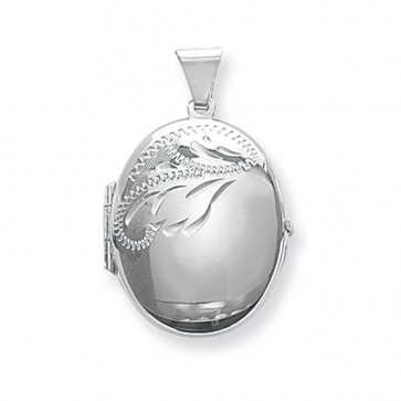 Children's Sterling Silver Small Half Engraved Oval Locket On A Curb Necklace