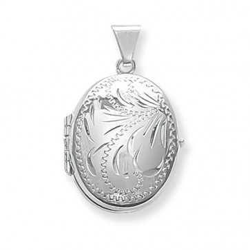 Men's Sterling Silver Small Full Engraved Family Oval Locket On A Black Leather Cord Necklace