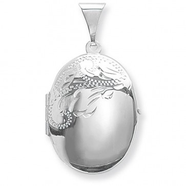 Men's Sterling Silver Medium Half Engraved Oval Locket On A Black Leather Cord Necklace