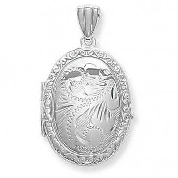 Sterling Silver Full Engraved Oval Locket On A Snake Necklace