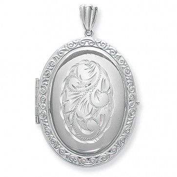 Children's Sterling Silver Full Engraved Family Oval Locket On A Curb Necklace