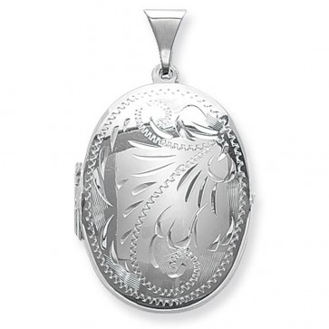 Children's Sterling Silver Small Full Engraved Oval Locket On A Curb Necklace