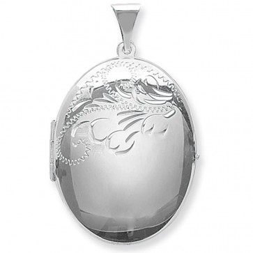 Men's Sterling Silver Large Half Engraved Oval Locket On A Black Leather Cord Necklace