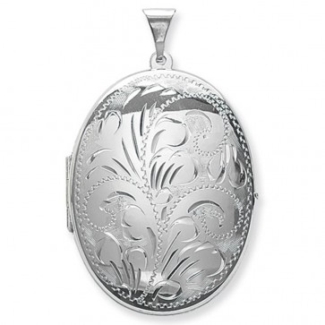 Men's Sterling Silver Large Full Engraved Oval Locket On A Black Leather Cord Necklace