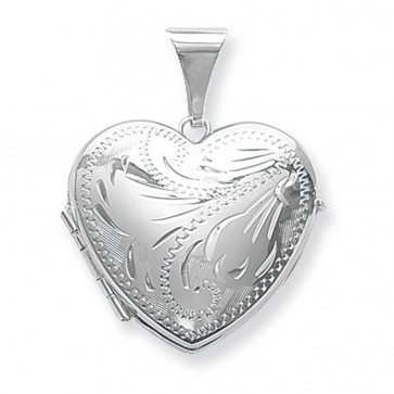 Men's Sterling Silver Full Engraved Family Heart Locket On A Black Leather Cord Necklace