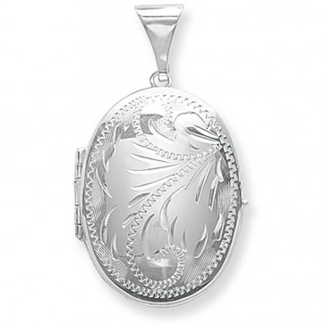Sterling Silver Large Full Engraved Family Oval Locket On A Snake Necklace