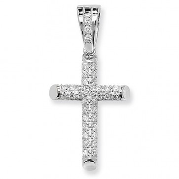 Sterling Silver Medium Cubic Zirconia Cross Pendant On A Snake Necklace