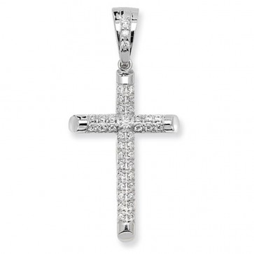 Sterling Silver Large Cubic Zirconia Cross Pendant On A Snake Necklace