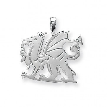 Men's Sterling Silver Medium Welsh Dragon Pendant On A Black Leather Cord Necklace