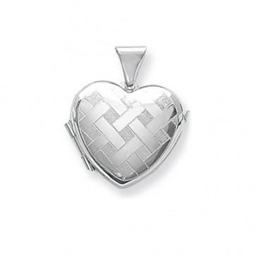 Children's Sterling Silver Small Patterned Heart Locket On A Curb Necklace