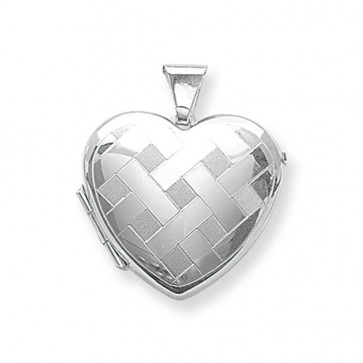 Men's Sterling Silver Large Patterned Heart Locket On A Black Leather Cord Necklace