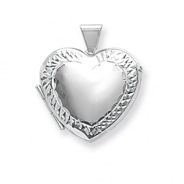 Children's Sterling Silver Medium Engraved Edge Heart Locket On A Curb Necklace