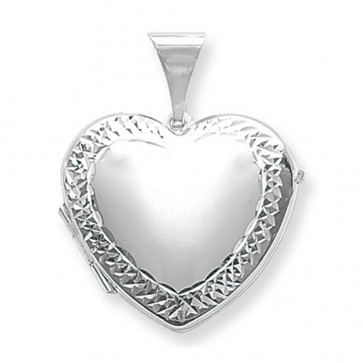 Sterling Silver Large Engraved Edge Heart Locket On A Snake Necklace