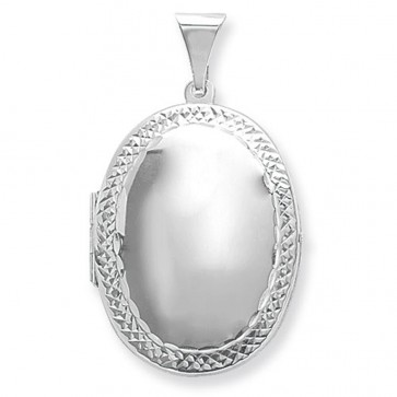Sterling Silver Medium Engraved Edge Oval Locket On A Snake Necklace
