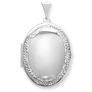Children's Sterling Silver Large Engraved Edge Oval Locket On A Curb Necklace