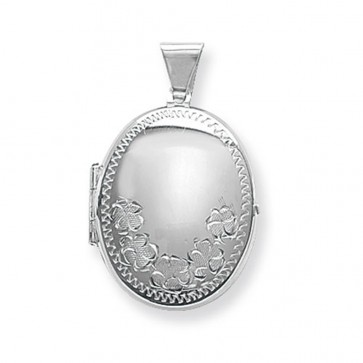Sterling Silver Flower Engraved Oval Locket On A Snake Necklace