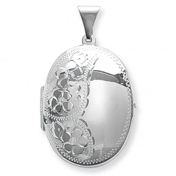 Children's Sterling Silver Flower Engraved Oval Locket On A Curb Necklace