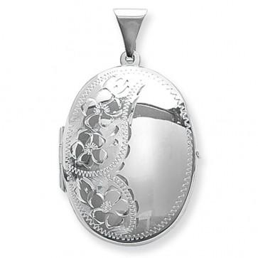 Sterling Silver Flower Engraved Oval Locket On A Snake Necklace