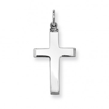 Men's Sterling Silver Small Plain Cross Pendant On A Black Leather Cord Necklace