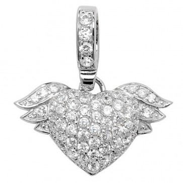 Sterling Silver Cubic Zirconia Winged Heart Pendant On A Snake Necklace