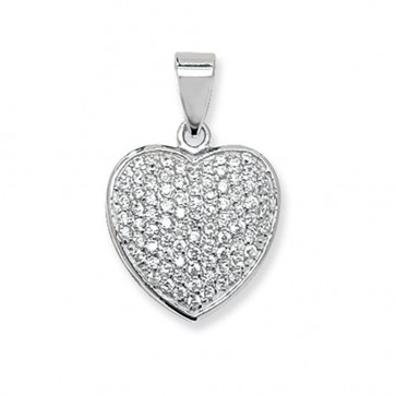 Sterling Silver Cubic Zirconia Cluster Heart Pendant On A Snake Necklace