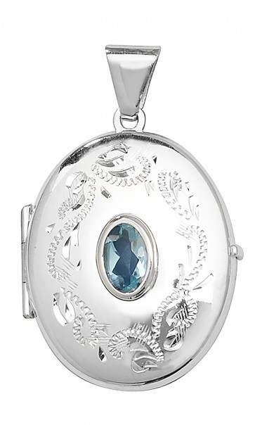Men's Sterling Silver Blue Topaz Oval Locket On A Black Leather Cord Necklace
