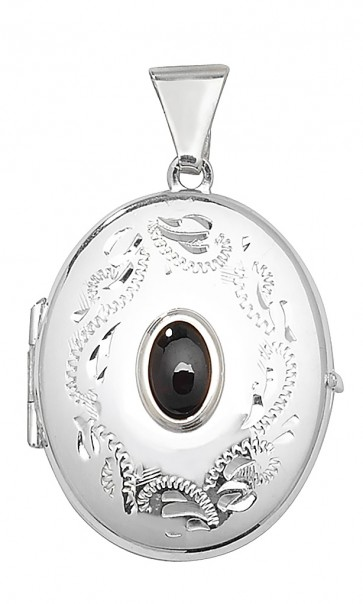 Children's Sterling Silver Garnet Oval Locket On A Curb Necklace