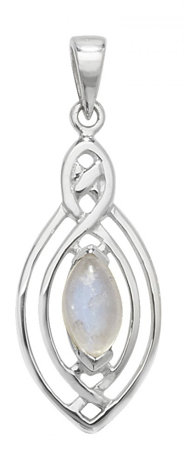 Children's Sterling Silver Moonstone Celtic Pendant On A Curb Necklace