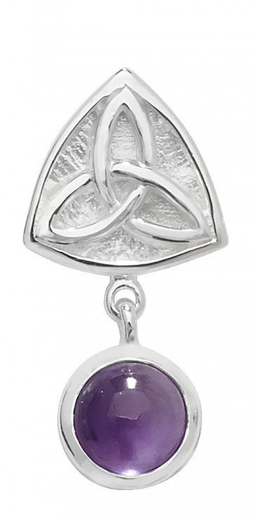 Sterling Silver Amethyst Celtic Pendant On A Snake Necklace