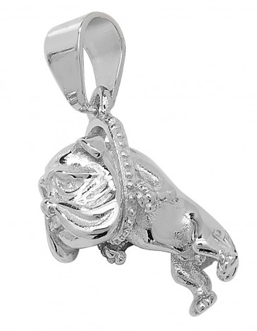 Sterling Silver Small Bling Bulldog Pendant On A Snake Necklace