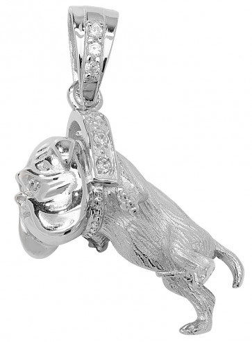 Sterling Silver Medium Bling Bulldog Pendant On A Snake Necklace