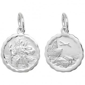 Children's Sterling Silver Small Waved Edge Double Sided St Christopher Pendant On A Curb Necklace
