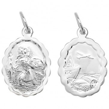 Children's Sterling Silver Small Oval Waved Edge Double Side St Christopher Pendant On A Curb Necklace