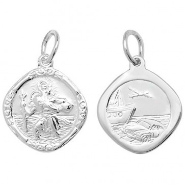 Children's Sterling Silver Small Double Side Cushion St Christopher Pendant On A Curb Necklace