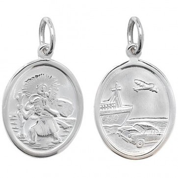 Children's Sterling Silver Small Oval Double Sided St Christopher Pendant On A Curb Necklace