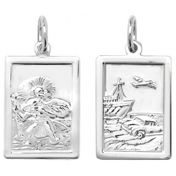 Children's Sterling Silver Oblong Double Sided St Christopher Pendant On A Curb Necklace