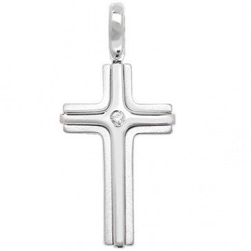 Children's Sterling Silver Diamond Set Cross Pendant On A Curb Necklace
